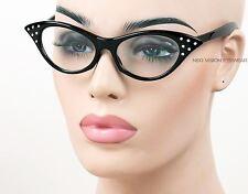 Rhinestone Cat Eye Vintage Style Pinup Glasses Clear Lenses Black RSC