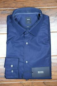 Hugo Boss $215 Tailored Scott Men's Slim Fit Navy Cotton Dress Shirt 38 15