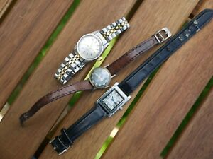 3 WORKING VINTAGE LADIES WATCHES TWO WIND UP 17 JEWELS OTHER WITH NEW BATTERY