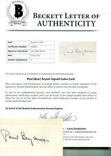 "* PAUL ""Bear"" BRYANT (D) * Alabama Tide rare signed 3x5"" card / BAS Beckett LOA"