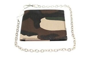 Army Camouflage Leather Bi-fold Chain Wallet Eyelet Hole on Canvas Nylon JTC
