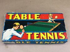 Vintage 1935 Milton Bradley Table Tennis #4755 Box, Paddles, Balls, Net & Clamps