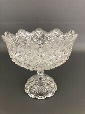 Antique Wheeling Glass Co. clear pressed glass compote DAISY & BUTTON 1880's