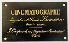 """PLAQUETTE porte  pour cinématographe 1896"""" LUMIERE"""" réversible 35 mm-fac-similé"""