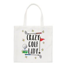 Crazy Golf Lady Small Tote Bag - Funny Mum Mother's Day Shopper Shoulder