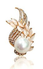 GORGEOUS 18K ROSE GOLD PLATED GENUINE AUSTRIAN CRYSTAL, CAT-EYE & PEARL BROOCH