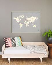 """World Map Wall Art Paper Print in Gray 24x18"""" World Travel Map Poster"""