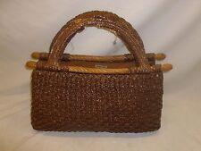 Vtg Old Antique Italy Woven Straw Basket Purse Yarn Sewing Bag Storage Shabby