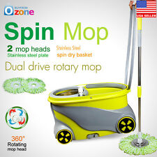 New 360°Rotating Spinning Mop Stainless Steel Spin-Dry Wheels Bucket 2 Mop Heads