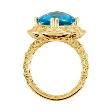 14k Yellow Gold Swiss Blue Topaz Sculptural Ring Size 7