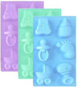Baby Shower Silicone Mold Fondant Cake Topper Wax, cookies Jelly chocolate Resin