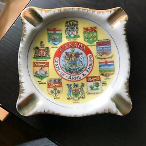 """4.5"""" Vintage Ashtray JAPAN GC Canada Coat of Arms & Emblems 10 Provinces"""
