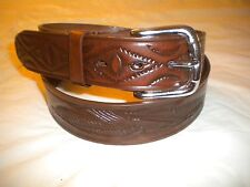 An Eagle Design 1 1/2 In Snapbelt Brand New Brown Mexican Belt 100% Leather With