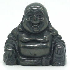 Natural Gemtone Black Hematite Carved Maitreya Happy Laughing Buddha Figurine
