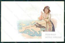 WW1 WWI Propaganda Map Anti German cartolina postcard XF7893