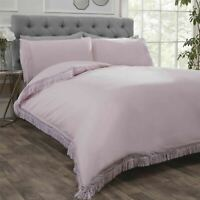 LACE FRINGE TRIM BLUSH PINK COTTON BLEND SINGLE DUVET COVER