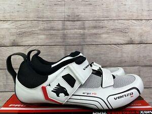 NEW - Venzo Triathalon Cycling Shoes Men's 10.5 White Black Ergo Fit