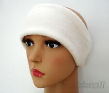 ladies mens girls Headband CREAM stretch fleece ear head warmer hat muff ski 9cm