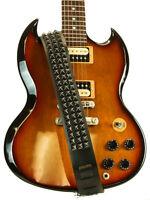 Black Studded High Quality Leather Black Guitar Strap Deathrock Thrashmetal