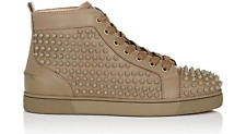 NIB Christian Louboutin Louis Flat Mens Poivre Green Spike High Top Sneaker 42