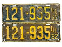 Illinois 1932 Vintage License Plate Pair Antique Car Prewar Set Man Cave Wall