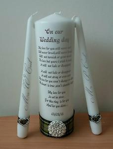 Personalised Cornish Wedding Unity Candle Set Gift Keepsake Wedding Mrs And Mrs