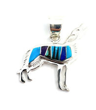 Native American Sterling Silver Navajo Multicoloured Wolf Pendant