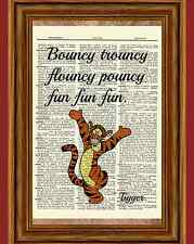 Tigger Winnie the Pooh Dictionary Art Print Picture Bouncy Flouncy Quote Nursery