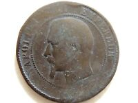 1852 - 1857  French Ten (10) Centimes Coin (Marseilles Mint)