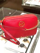 Michael Kors Fulton Jet Set Item Crossbody Bag Leather Red