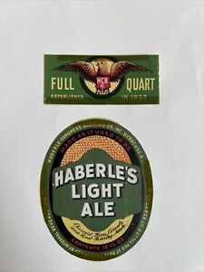 Haberle's Light Ale Beer Label & Quart Neck Label Ny