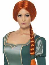 Long Auburn Plaited Wig, Shrek Princess Fiona Wig Fancy Dress Accessory
