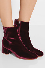 Gianvito Rossi Burgundy Velvet Margaux Ankle Boots 37/7 SOLD OUT!!