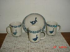 "4-PIECE TIENSHAN FOLK CRAFT ""GEESE"" BLUE SPONGE COFFEE CUPS-BOWL/CLEARANCE!"