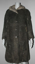 VNTG. 1960S SILVER PERSIAN LAMB FUR COAT WITH WHITE MINK COLLAR