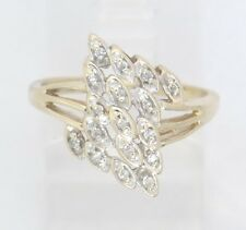 10k Yellow Gold Round Diamond Cluster Right Hand Ring .17ct