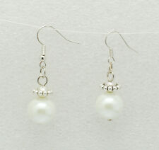 Elegant Tibetan Style White Glass Pearl Earrings