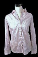 Ann Taylor LOFT Pink & White Floral Long Sleeve Button Down Cotton Blouse Sz M