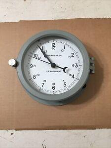 Navistar Marine Instrument Corp US Government Bulkhead Clock Chelsea ST Style