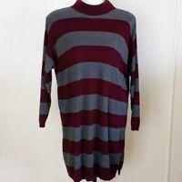 Eddie Bauer Women's Sweater Dress Cotton Striped XLT Gray Maroon Mock Neck LS