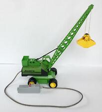 Grue à benne preneuse Joustra de 1970, jouet vintage tôle et plastique vert