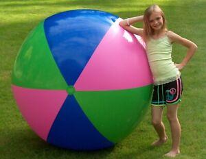 "72"" Jumbo TRI-COLOR Beach Ball - GIANT Vintage Pool Toy Fun! Big Beachball"