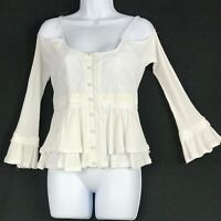 Central Park West Women Blouse Cold Shoulder Bell Sleeve Embroidered Size XS NEW