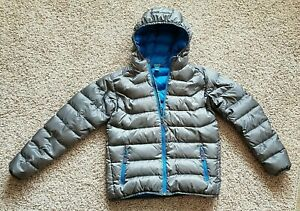 Kids Eddie Bauer Down Gray Jacket Coat Packable Puffer Full Zip - Size L(12)