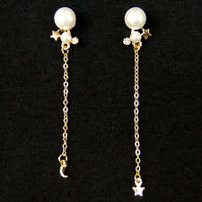 Tiny Moon Star Pearl Long Chain Asymmetrical Lovely Sweet Drop Dangle Earrings