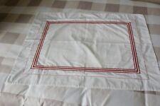 Standard White w/ Red Embroidered Stripes Pillow Sham Farmhouse
