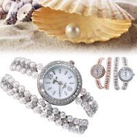 Frauen Perle Armband Handgelenk analoge Quartz Crystal Strass Runde Ziffer Uhr