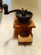 Coffee Grinder vintage ornate wood & cast iron hand crank w/ small drawer