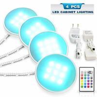 4PCS LED Under Cabinet Light RGB Color Lamp Home Kitchen Fixture Kit + Remote