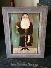 Primitive Christmas Belsnickle Santa Claus Wreath Stocking Framed Print